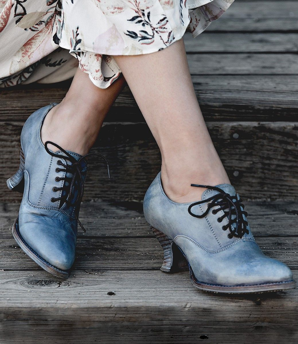 Victorian Style Leather Lace Up Shoes In Steel Blue Victorian Shoes Vintage Inspired Shoes Vintage Style Shoes
