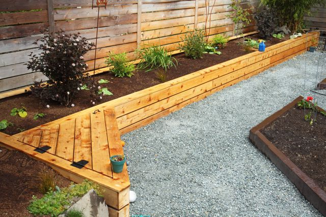 I wonder if we could work a bench into the new garden if hinged