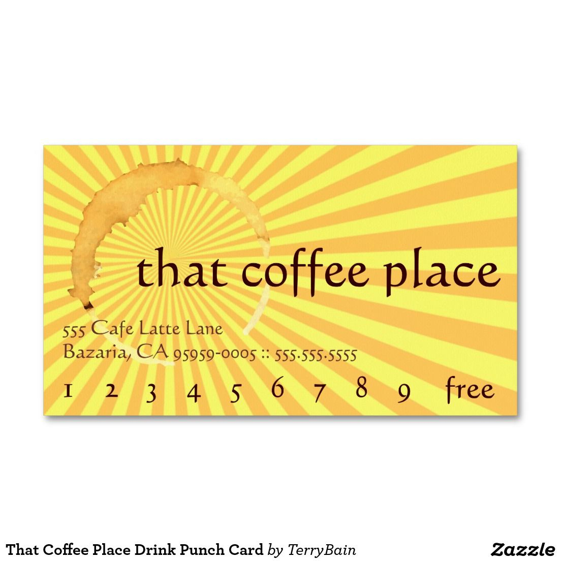 That Coffee Place Drink Punch Card Business Card   Loyal to Coffee ...