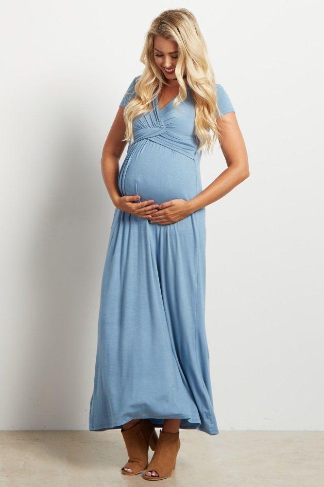 3f7fe45dc51 Blue Draped Maternity Nursing Maxi Dress