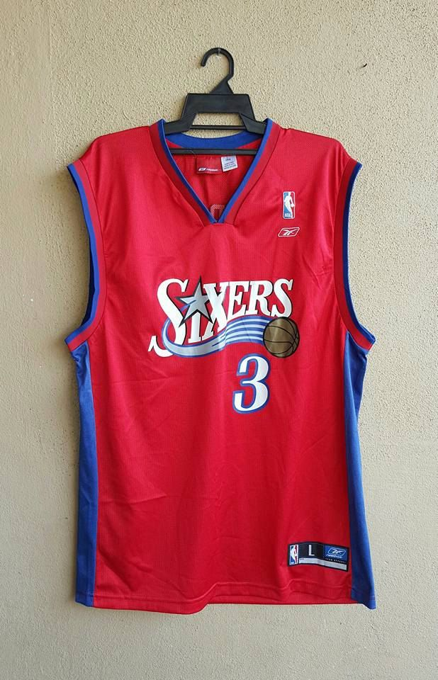 NBA Reebok Authentics Team Apparel Allen Iverson  3 Sixers Red Basketball  Jersey Size L by alltrade1 on Etsy fd014339d