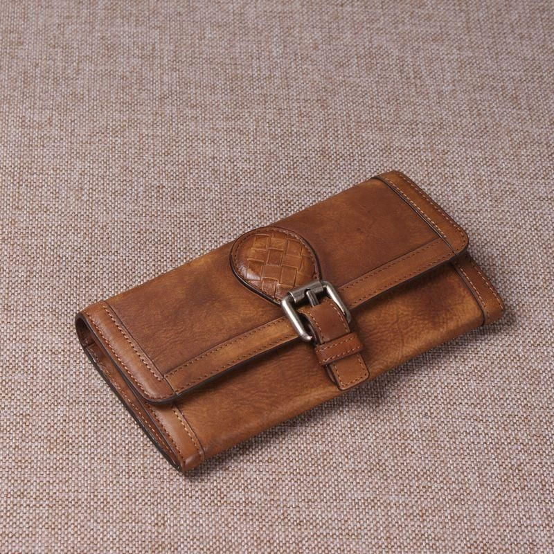 Portefeuille en cuir véritable au look rétro vintage, portefeuille long pour homme 9059   – wallets