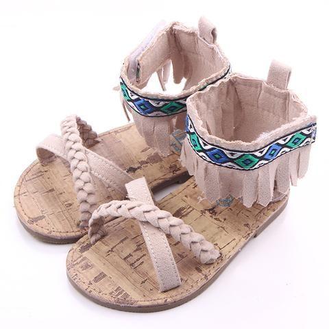 Toddler Girls Newborn Baby Summer Beach Sandals Suede Tassel Prewalker Shoes