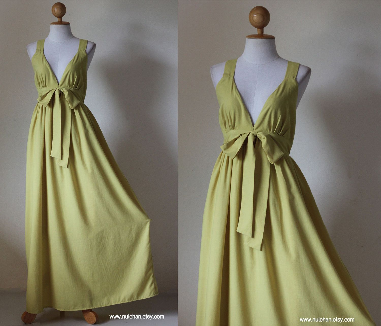 Yellow Bridesmaid Dress - Gorgeous Elegant V-styled Neck  Evening Maxi Dress : Love Party Collection. $59.00, via Etsy.
