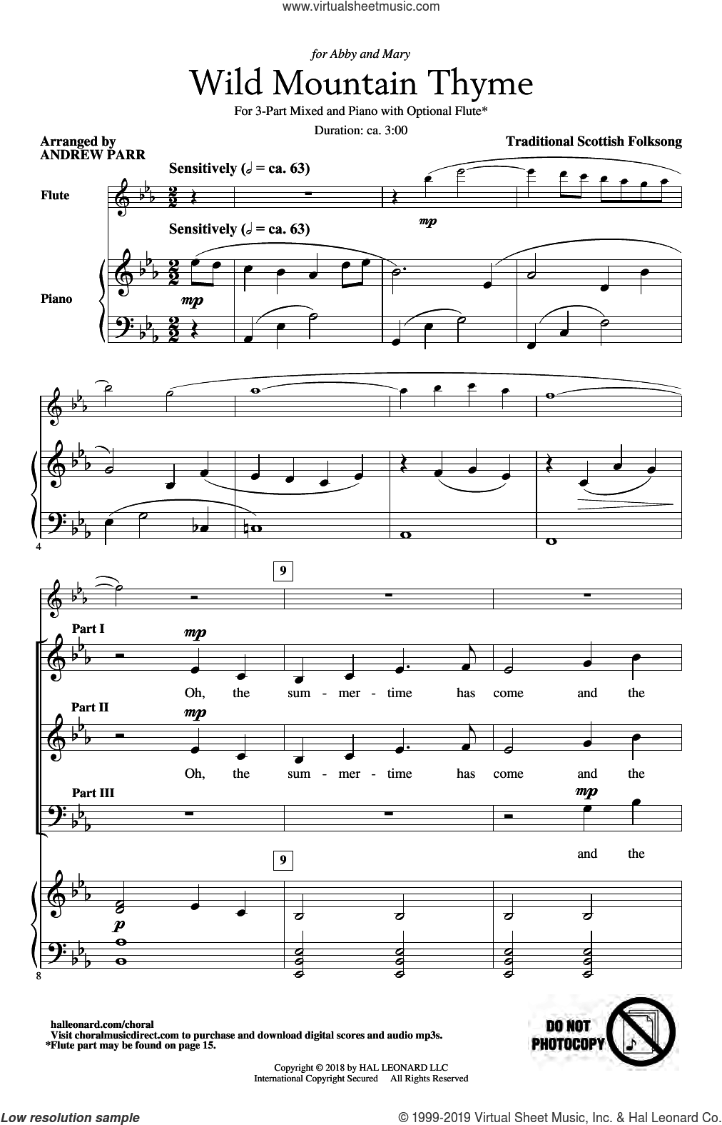 Song Wild Mountain Thyme Arr Andrew Parr Sheet Music For Choir 3 Part Mixed Sheet Music Music Songs