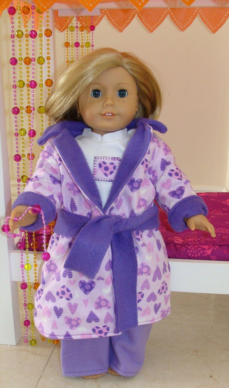American Girl Doll 18 inch doll Purple Hearts Robe by SweetPeaKidz, $18.00