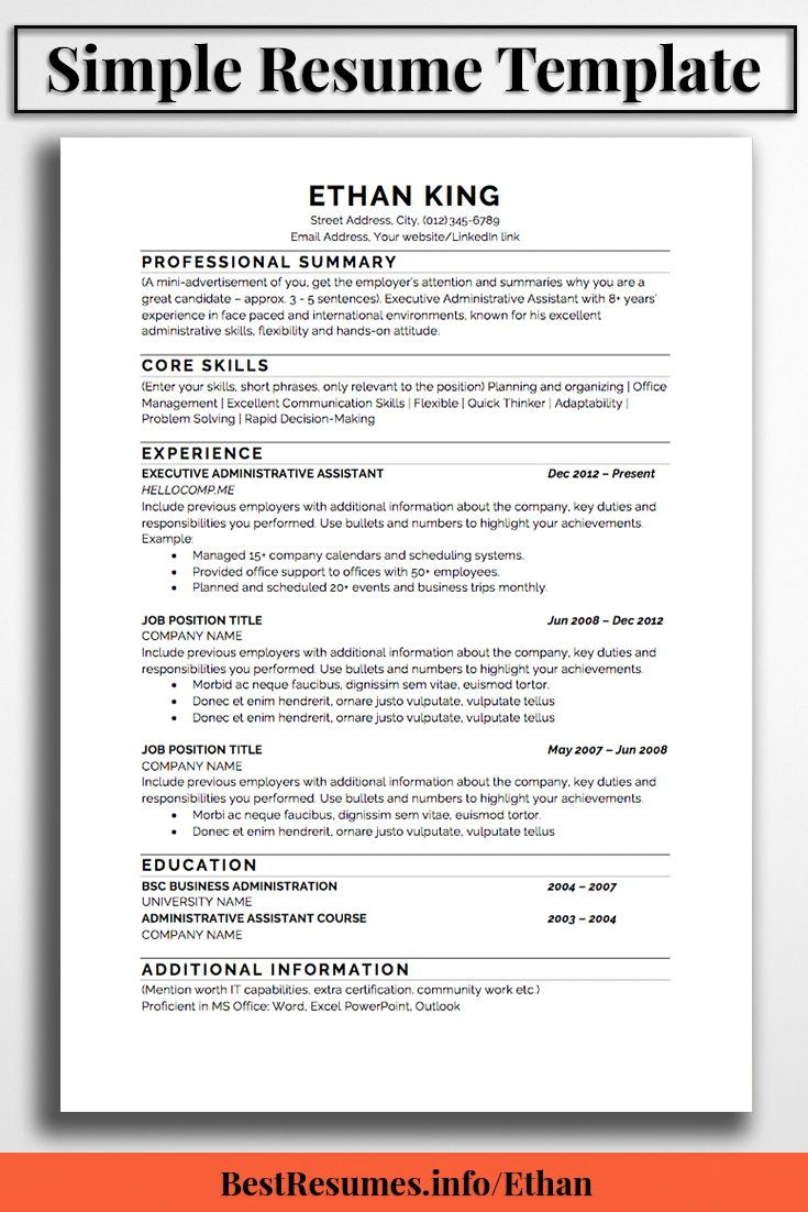 Office 2007 Resume Template Resume Template Ethan King  Pinterest  Simple Resume Template .
