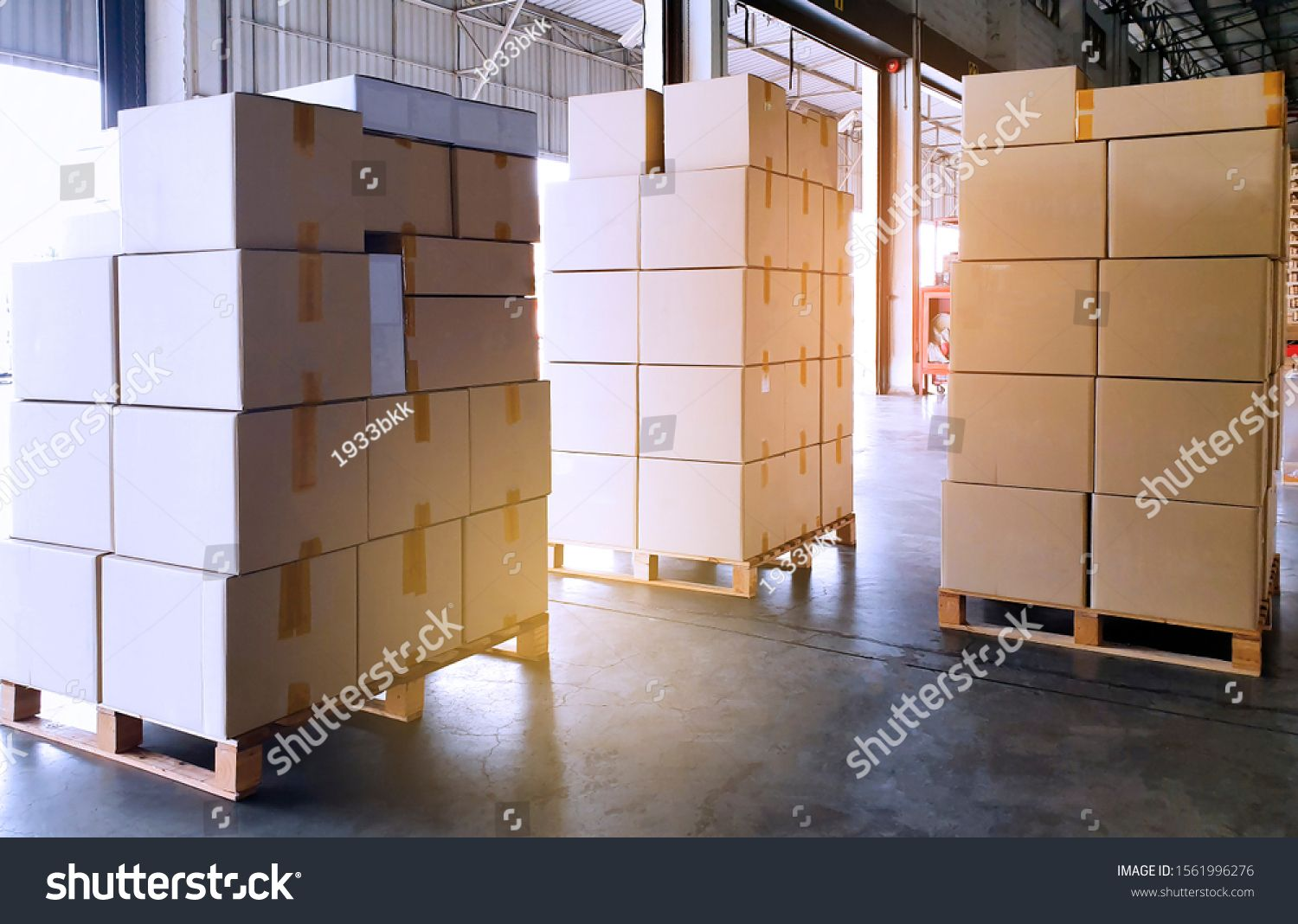 Stack Package Boxes On Wooden Pallets Shipment Goods Transport At