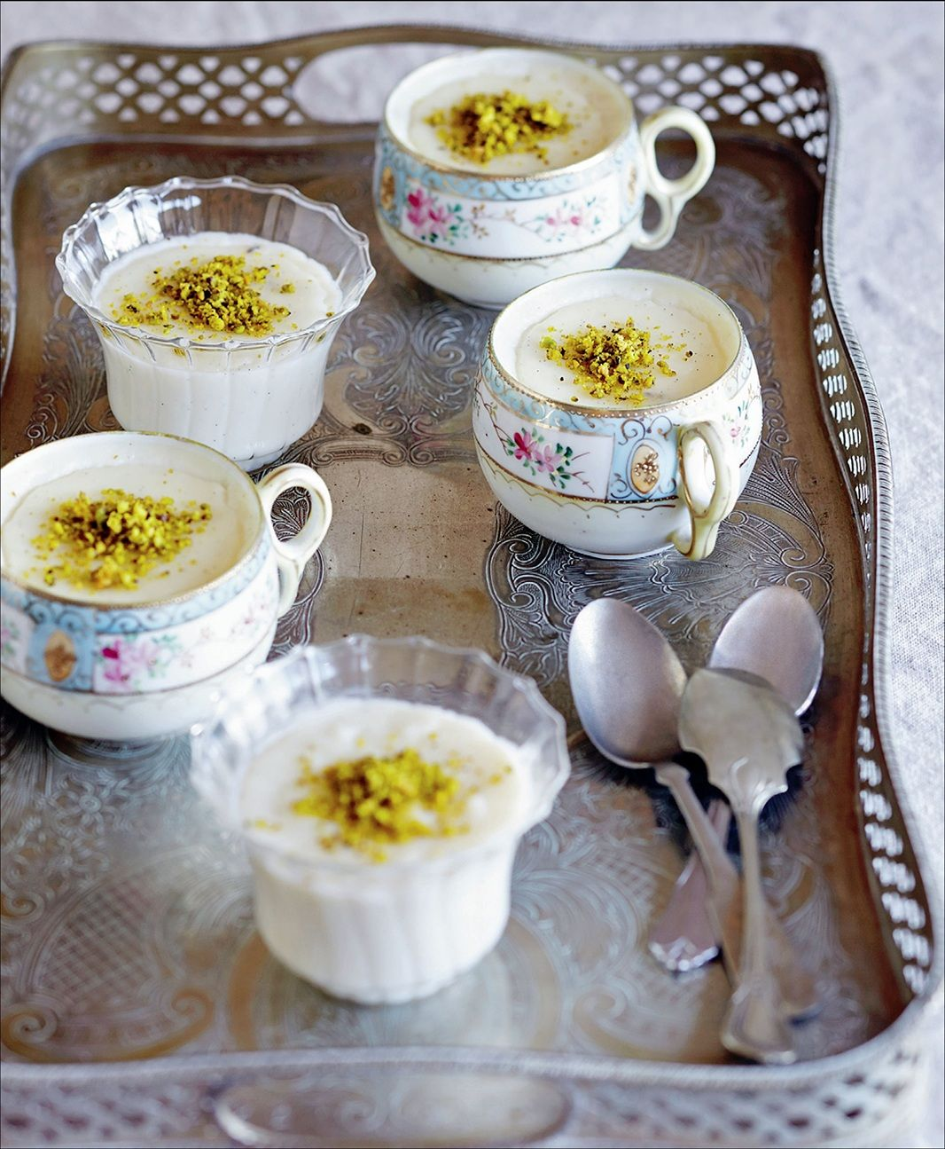 Milk puddings with vanilla and pistachio by Sevtap Yüce | Cooked #dessert #recipe