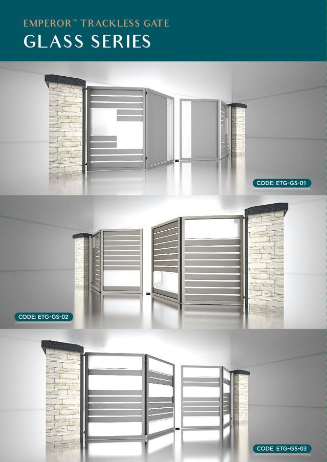 Glass series for the Emperor Gate, a trackless folding gate designed ...