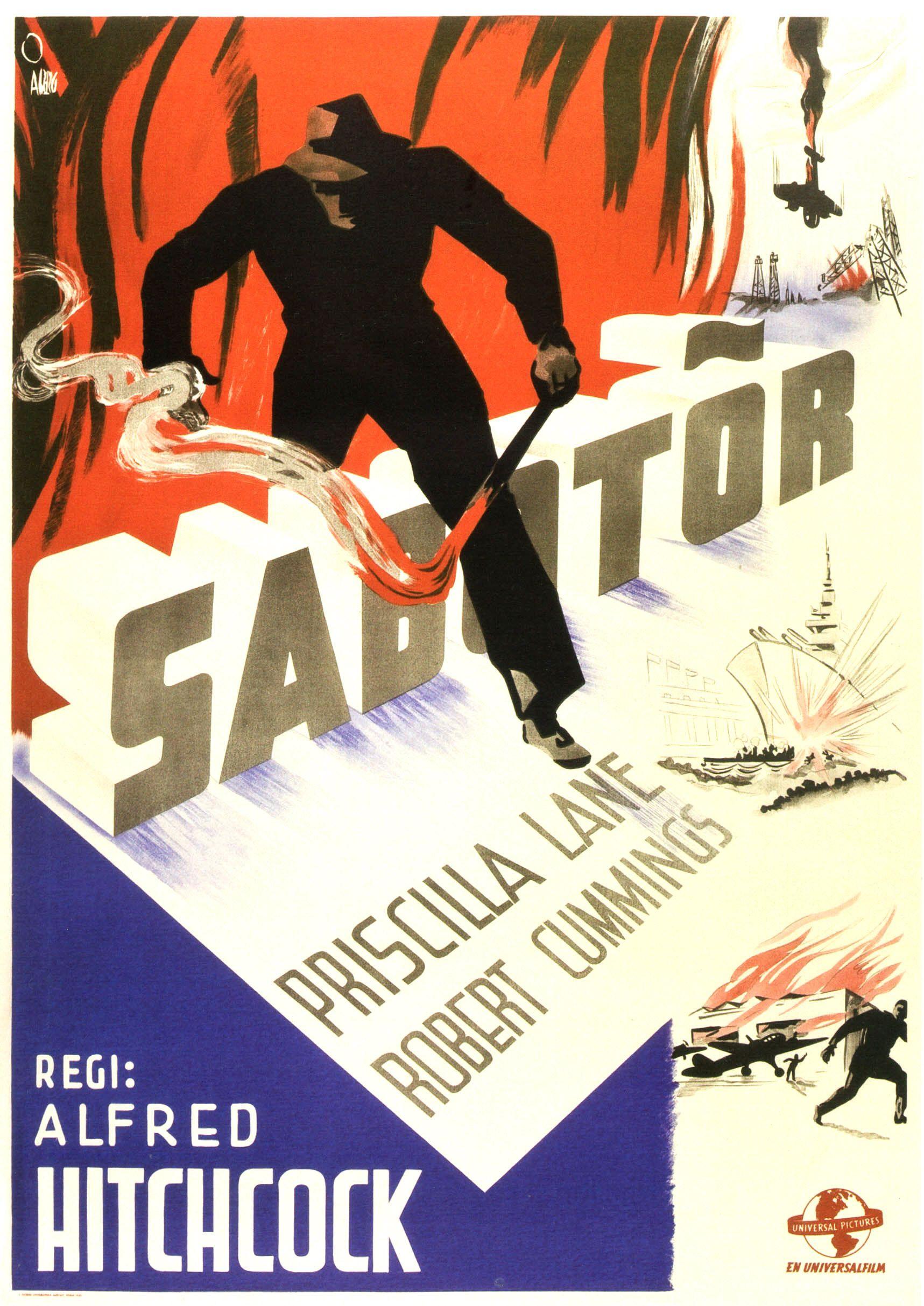 Alfred Hitchcock (1942) Saboteur - M169 - #Movie #Film #Movie Poster