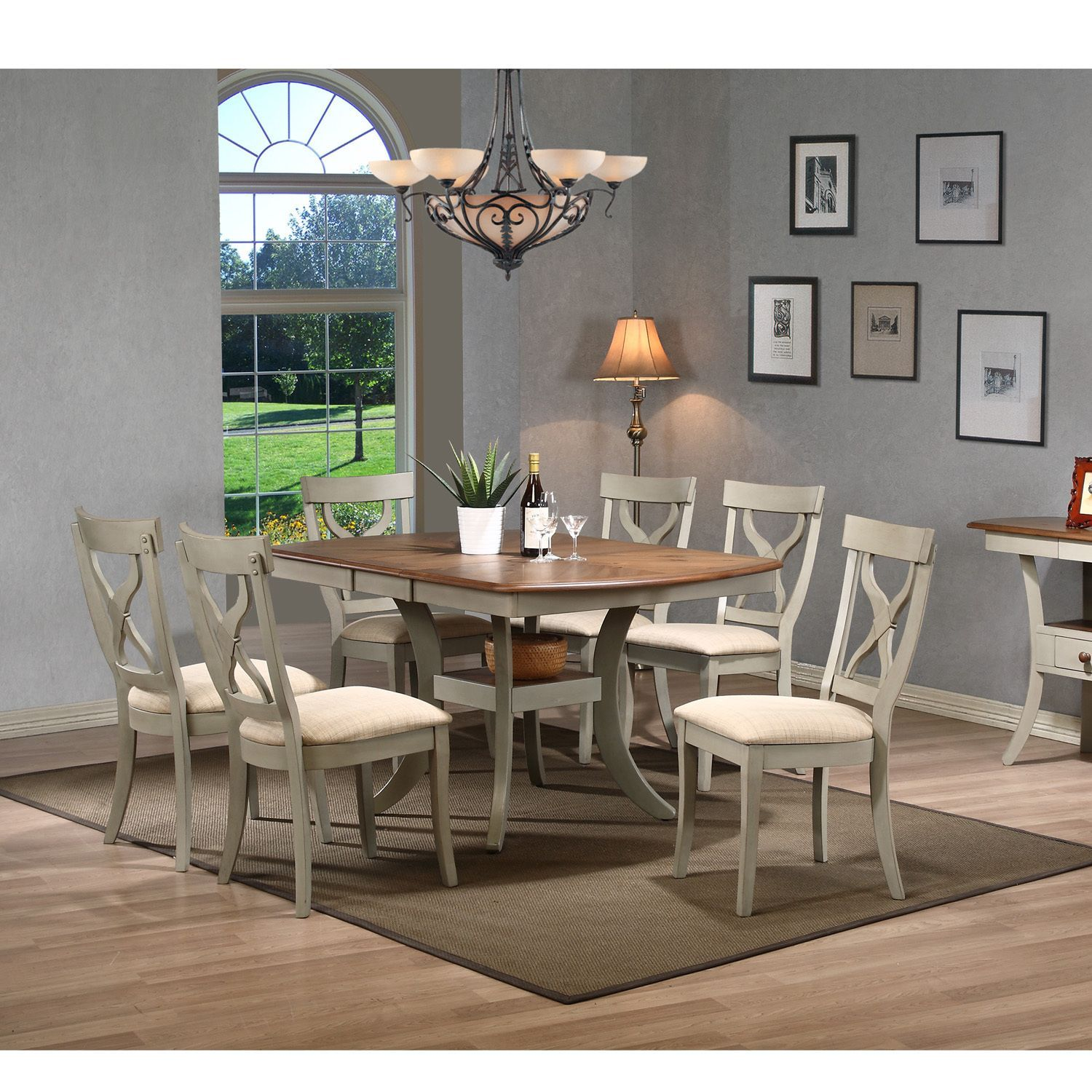 Balmoral Shabby Chic Country Cottage Antique Oak Wood And Distressed Light Grey 7 Piece Dining Set By Baxton Studio