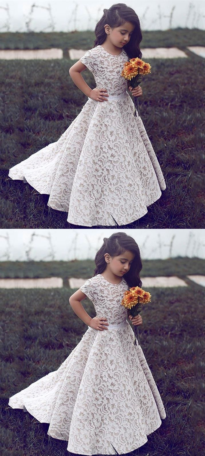 A Line Round Neck Short Sleeves Sweep Train Ivory Lace Flower Girl