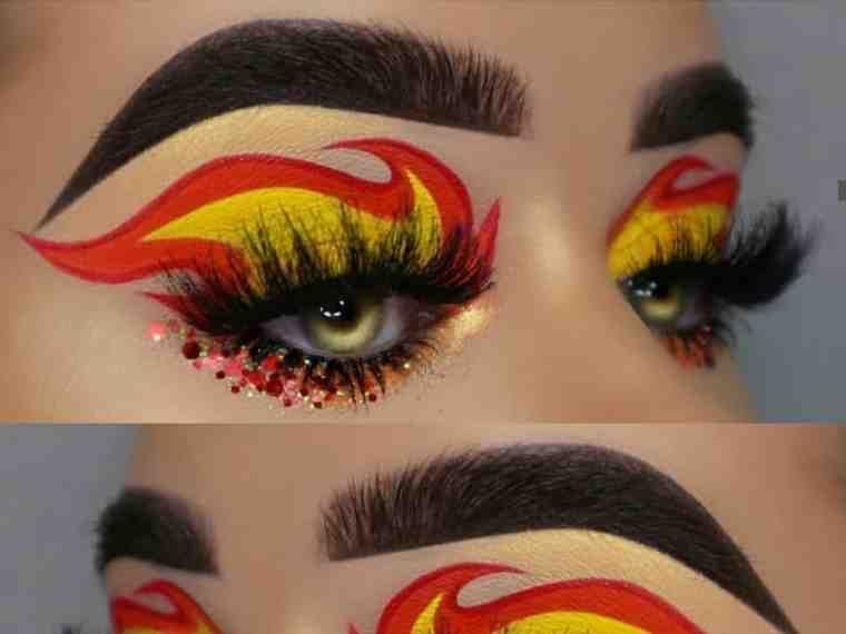 مكياج عيون غريب بنات صورة ١ Face Makeup Makeup Halloween Face Makeup