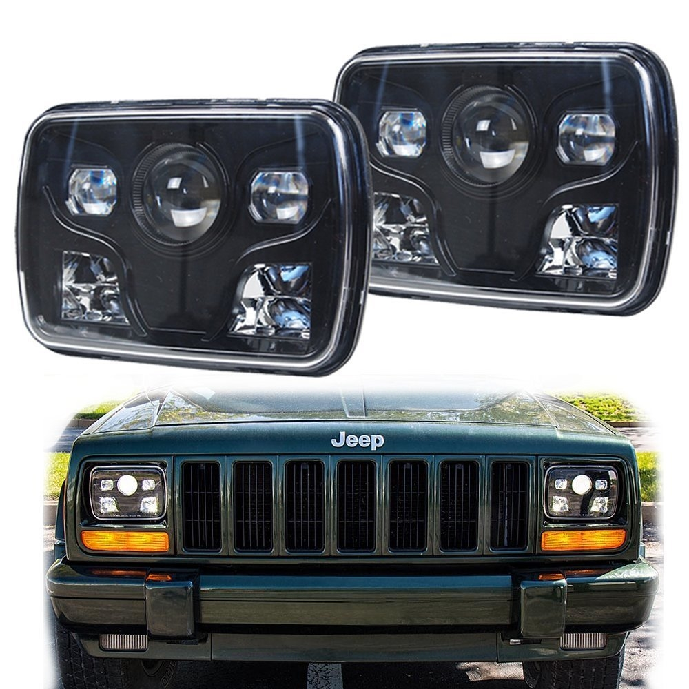 175.00$  Buy now - http://ali9fw.worldwells.pw/go.php?t=32771650149 - 2 PCS X 5''x 7'' Inch High Low Beam Led Headlights For Jeep Wrangler YJ Cherokee XJ Trucks 4X4 Offroad 175.00$