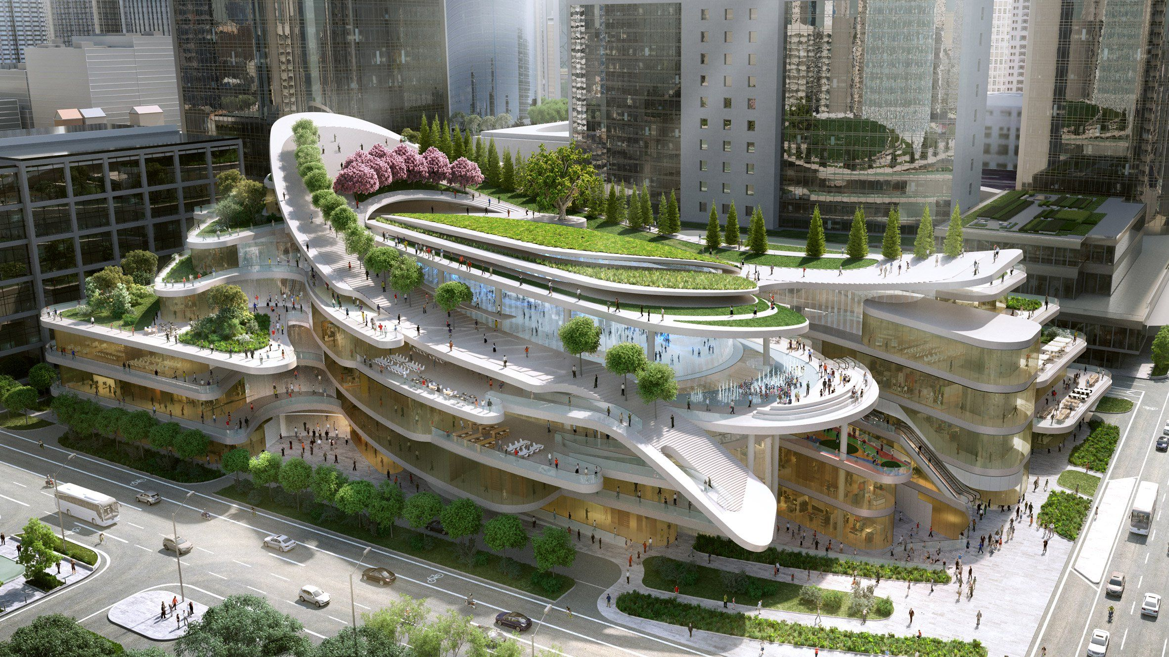 an undulating path will curve around the roof garden of this
