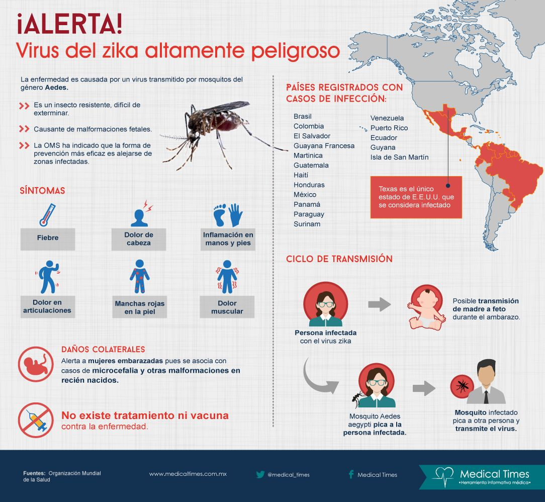 ¡ALERTA! Virus del zika altamente peligroso, Infografía Medical Times
