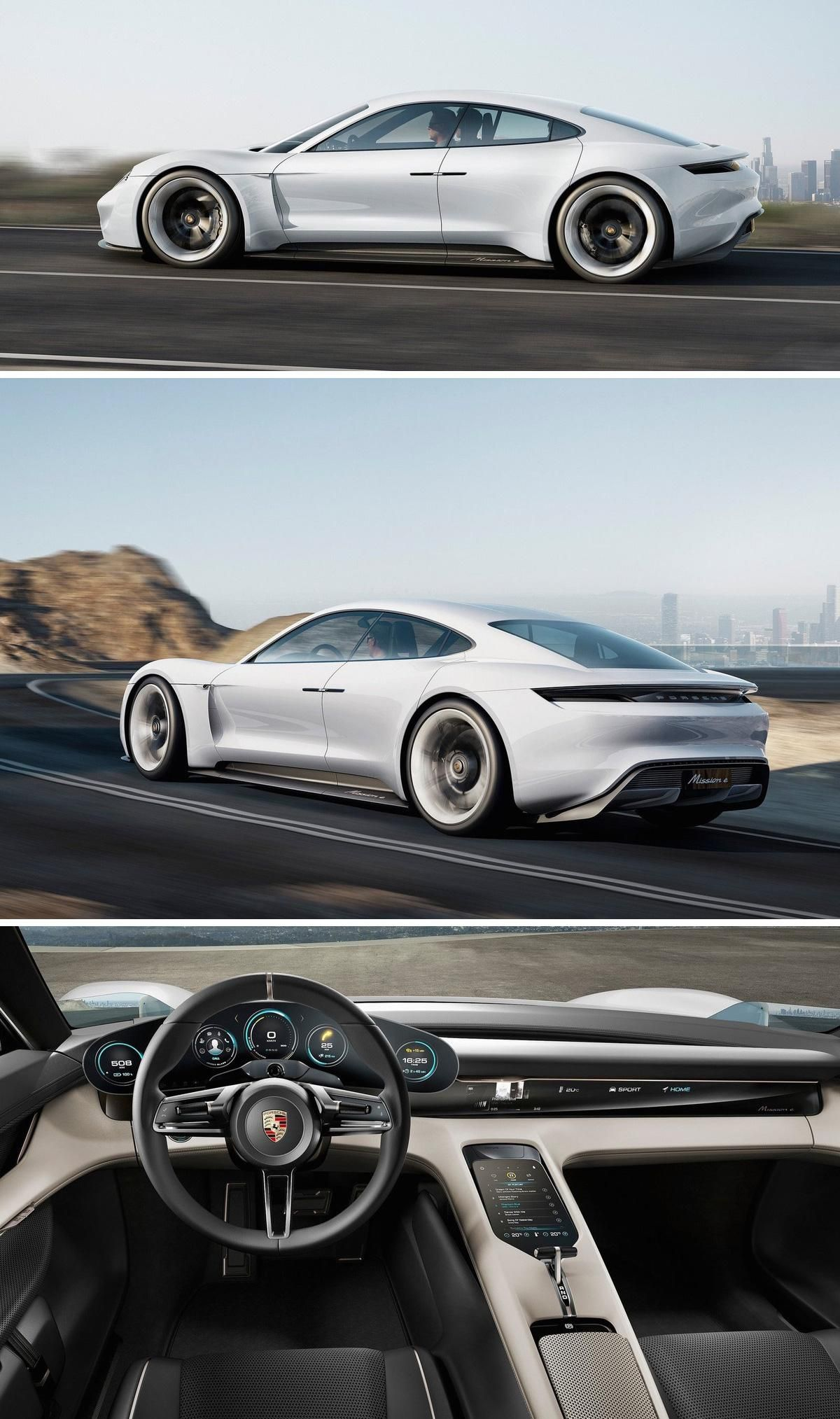 The Porsche Mission E promises a 310-mile driving range, 600 horsepower and most unbelievably, a charging time of only 15 minutes to charge the battery 80%