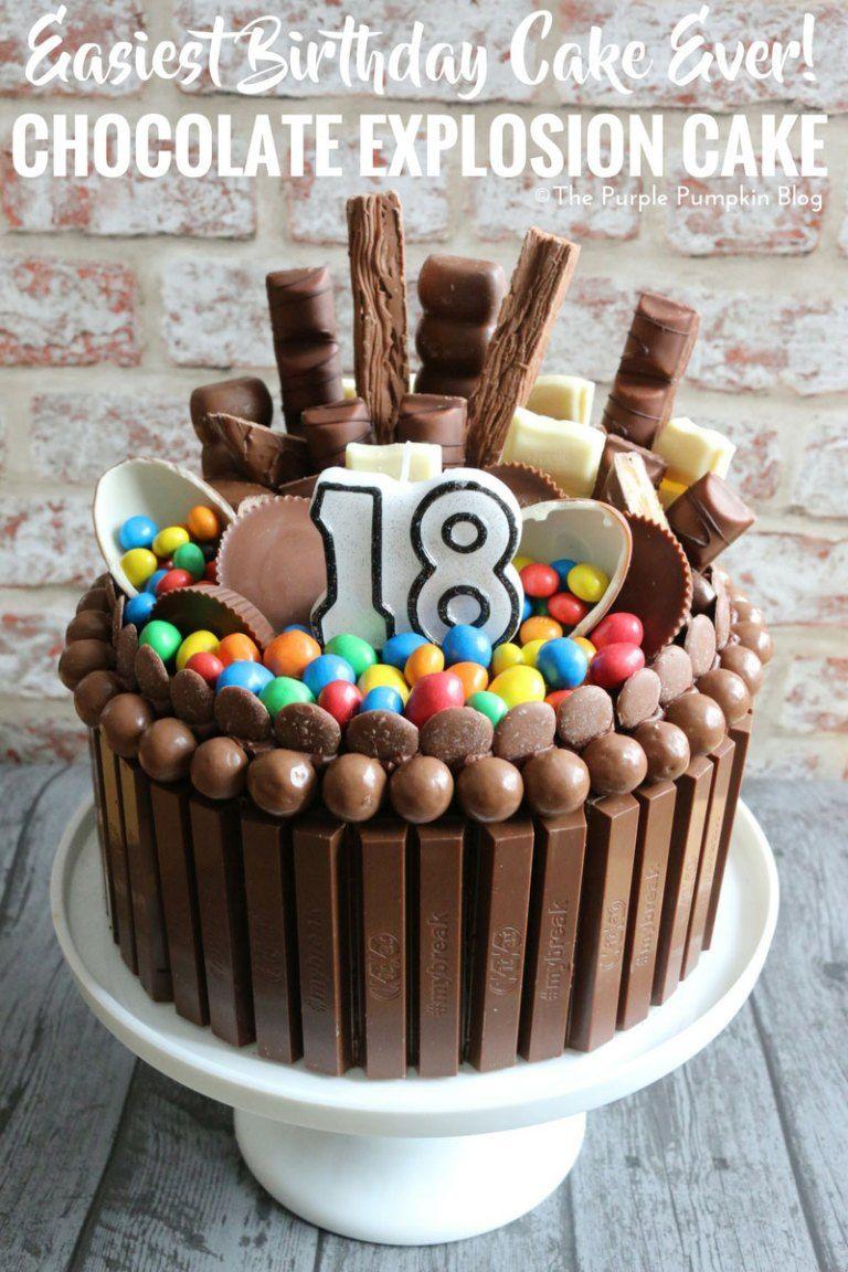 How To Make A Chocolate Explosion Cake Recipe Simple Birthday Cake Chocolate Explosion Cake Birthday Cake For Him