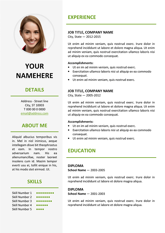 ikebukuro free elegant resume template green for ms word - Free Resume Fonts
