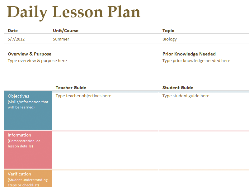 FREE Printable Lesson Plan Template From Kindergarden To - College lesson plan template