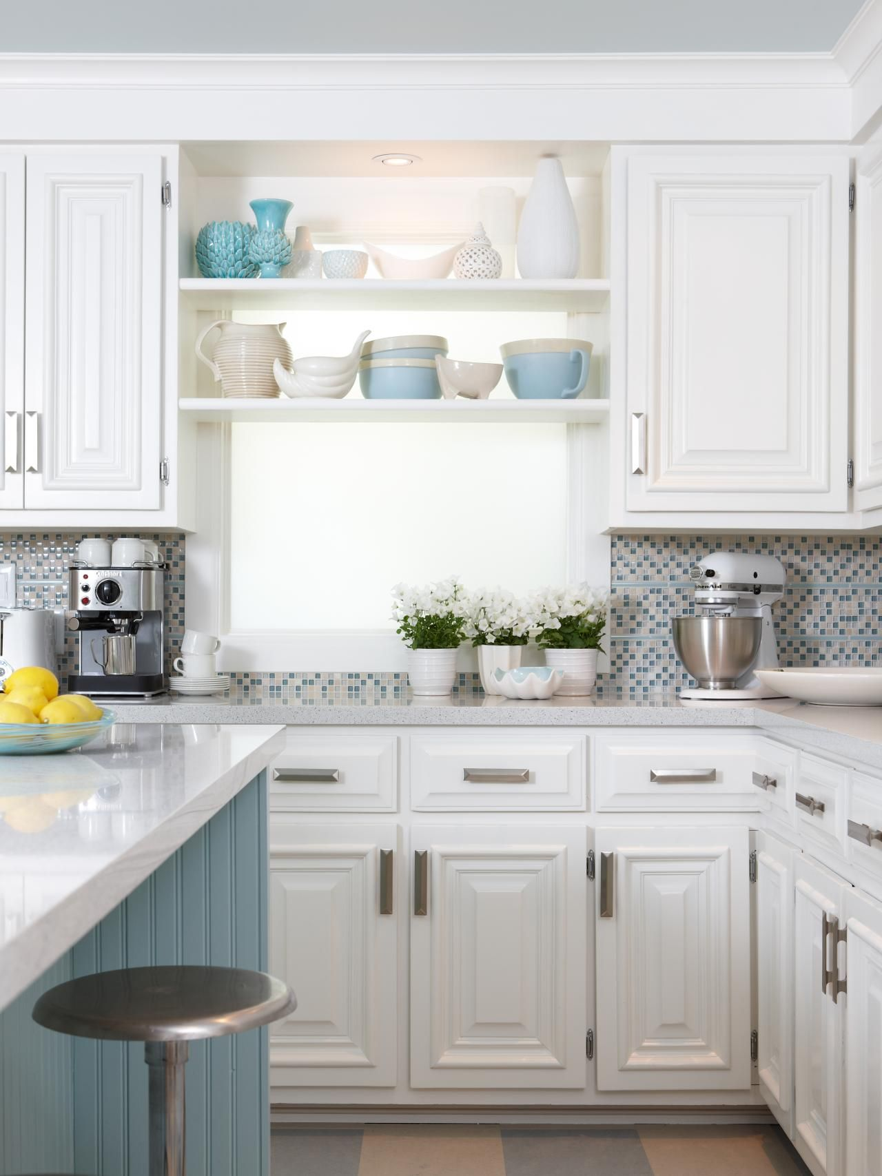Light Blue Kitchen This White Cottage Kitchen Is A Cozy Space With Light Blue Accents