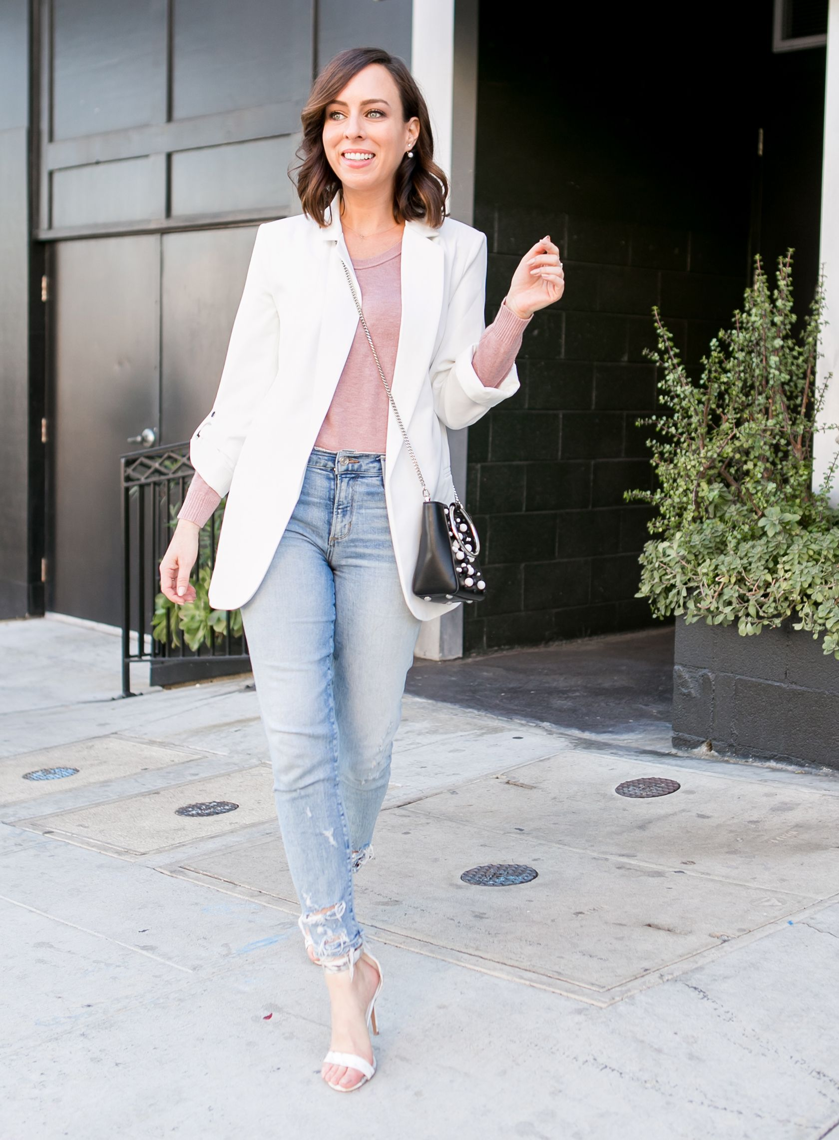 62915ee75164 Sydne Style gives casual outfit ideas in a white blazer and denim with  affordable shopping ideas. #casualstyle #casualoutfit #jeans #blazer #white  #blush