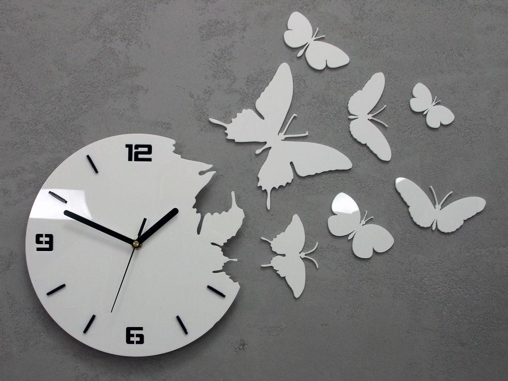 Zegar ścienny Motyle 3d Biały Ultra Cichy Diy