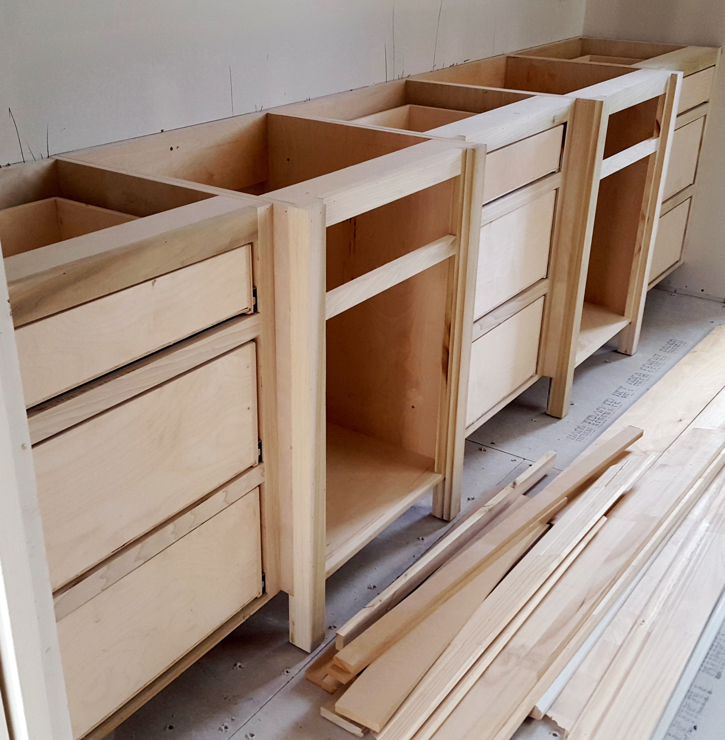 Typical job built bathroom vanity cabinets in progress In this