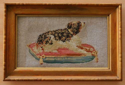 Antique Beaded Needlework Recumbent Dog