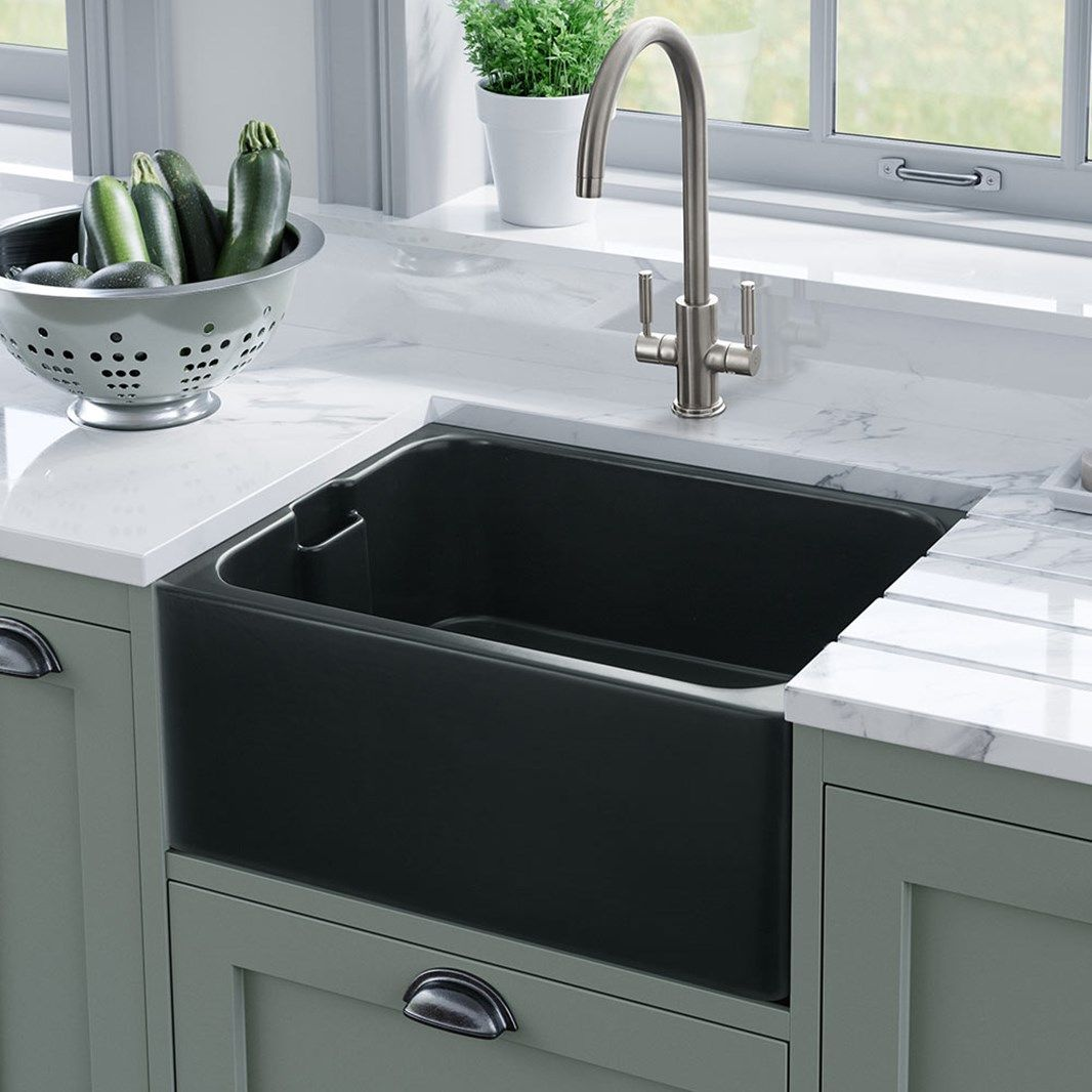 Rangemaster Farmhouse Belfast 1 Bowl Fireclay Anthracite Ceramic Kitchen Sink Waste Kit 595 X 455mm Ceramic Kitchen Ceramic Kitchen Sinks Small Kitchen Sink