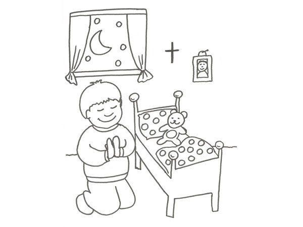 Dibujo infantil de un niño rezando para colorear | actividades para ...