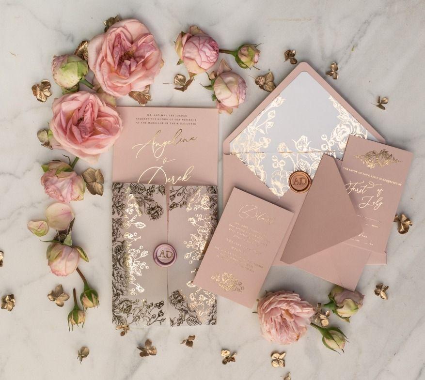 Gold And Blush Wedding Invitations Gold Wedding Invitations Wedding Invitations Uk Wedding Invitations