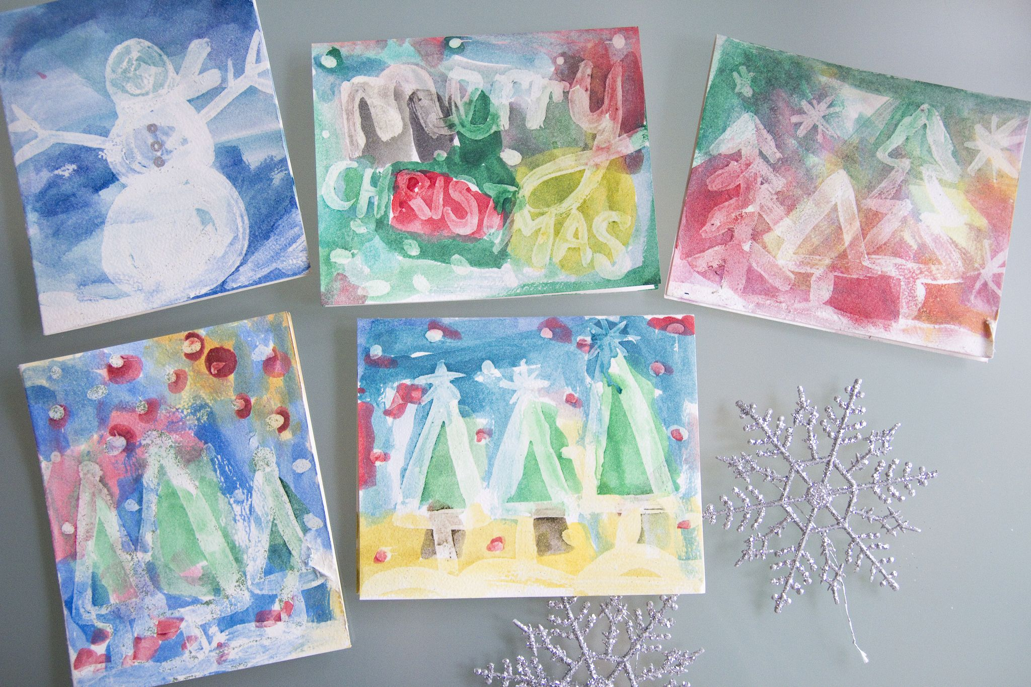 Crafts With Kids Watercolor Christmas Cards Cute Christmas