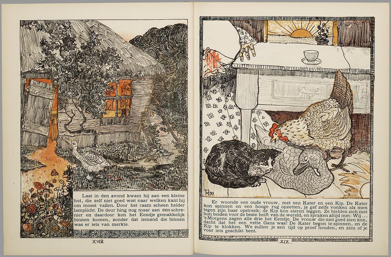 Het leelijke jonge eendje, pag. 18-9: naar het sprookje / van H. C. Andersen ; geteekend en gelithographeerd door T. van Hoytema,Amsterdam, C.M. van Gogh, 1893