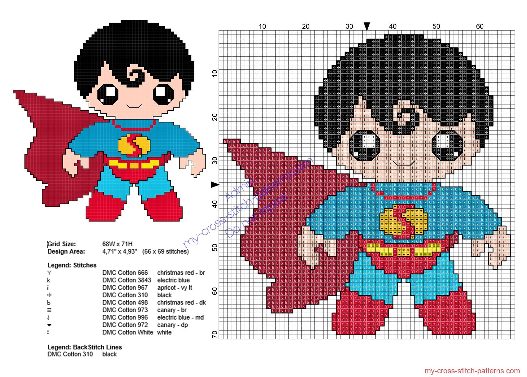 Baby Superman Superheroes Free Cross Stitch Patterns Punto De