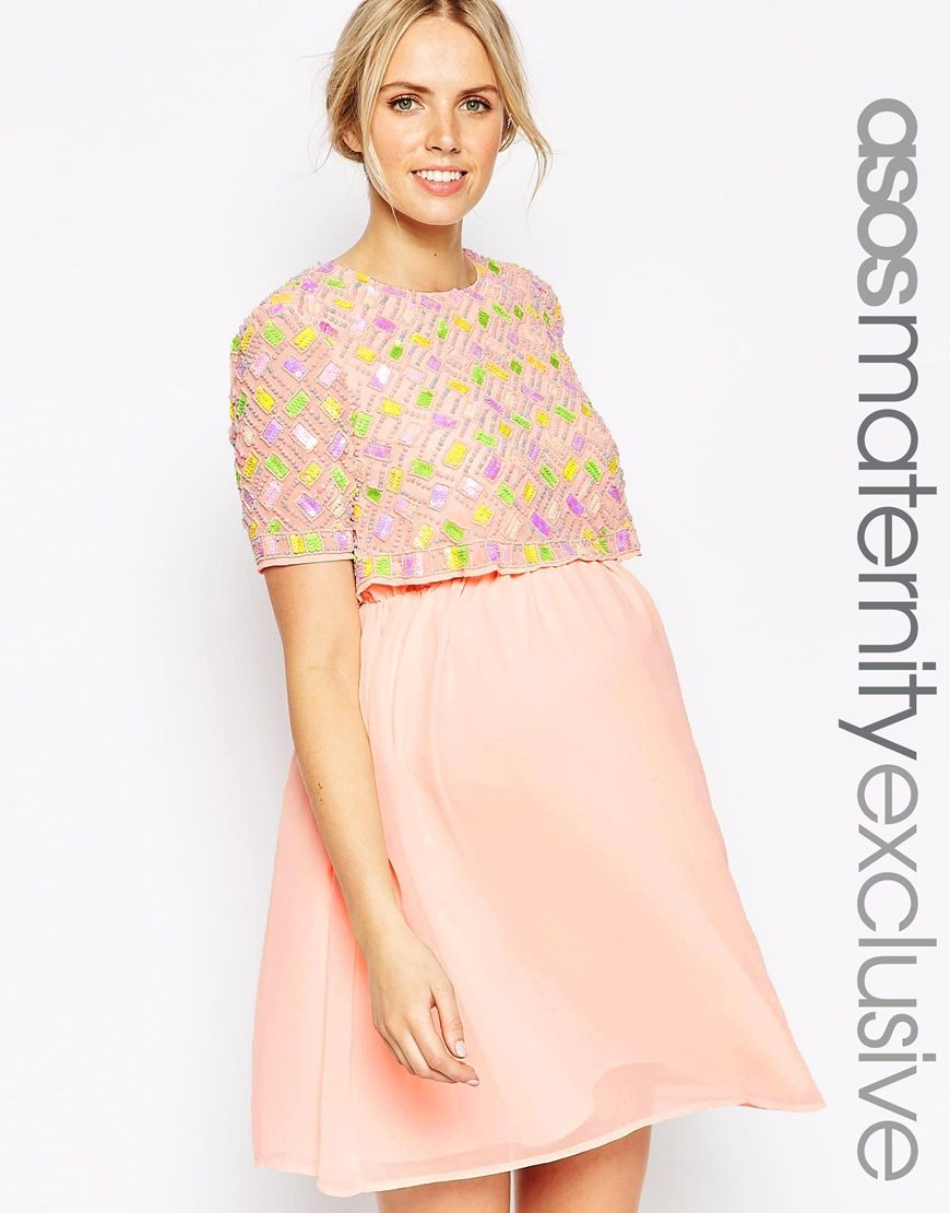 Image 1 of asos maternity embellished skater dress with double image 1 of asos maternity embellished skater dress with double layer ombrellifo Image collections