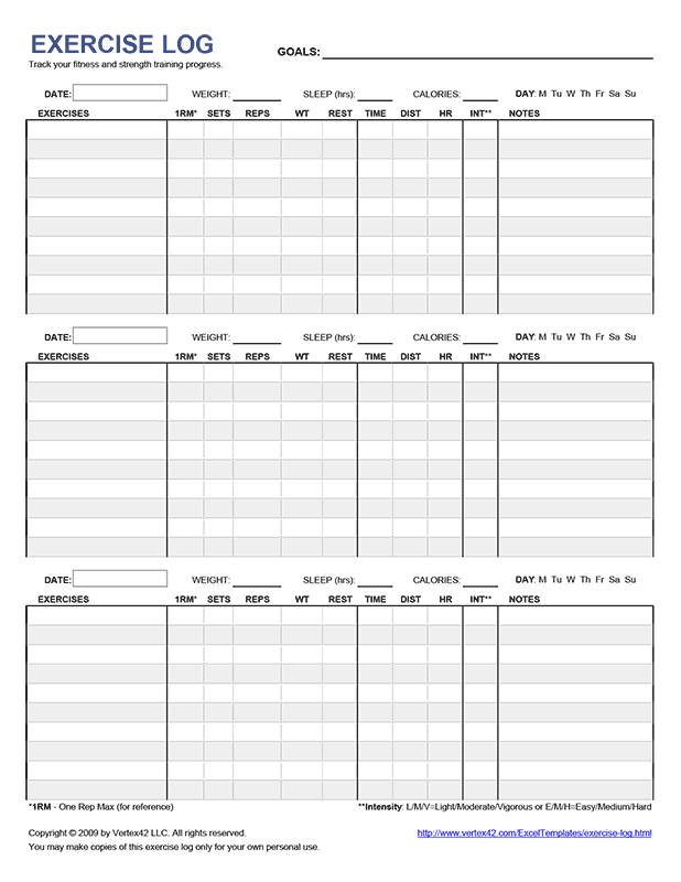 Free Workout Plan Template Pdf : workout, template, Printable, Exercise, Workout, Template,, Fitness, Journal
