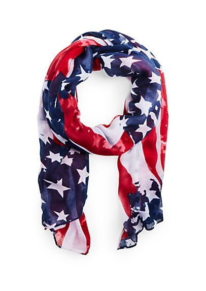 D/&Y Women/'s Distressed American Flag Scarf with Tassels 40x40
