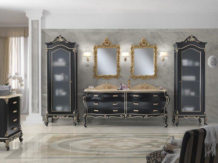 salle de bain baroque mobilier en noir et miroir dor. Black Bedroom Furniture Sets. Home Design Ideas