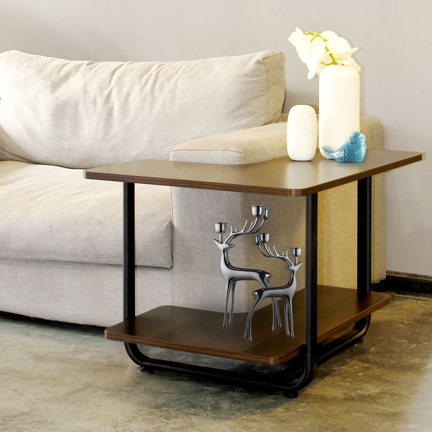 L Shape Sofa Table 2 Tier Couch Side End Table Huge Capacity