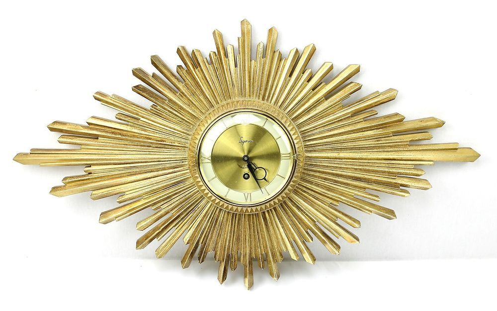 Retro SYROCO Gold SUNBURST 8 Day Windup WALL CLOCK Art Deco Baroque ...