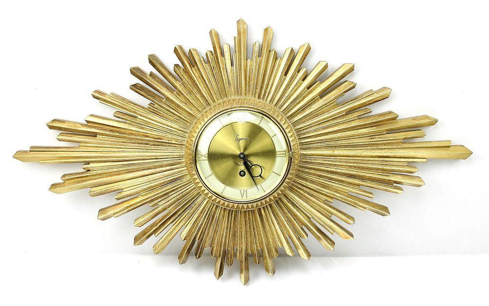 Retro SYROCO Gold SUNBURST 8 Day Windup WALL CLOCK Art Deco Baroque ...