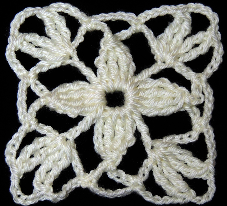 Lindo motivo en crochet formando una flor de 4 petalos. | Tejiendo ...