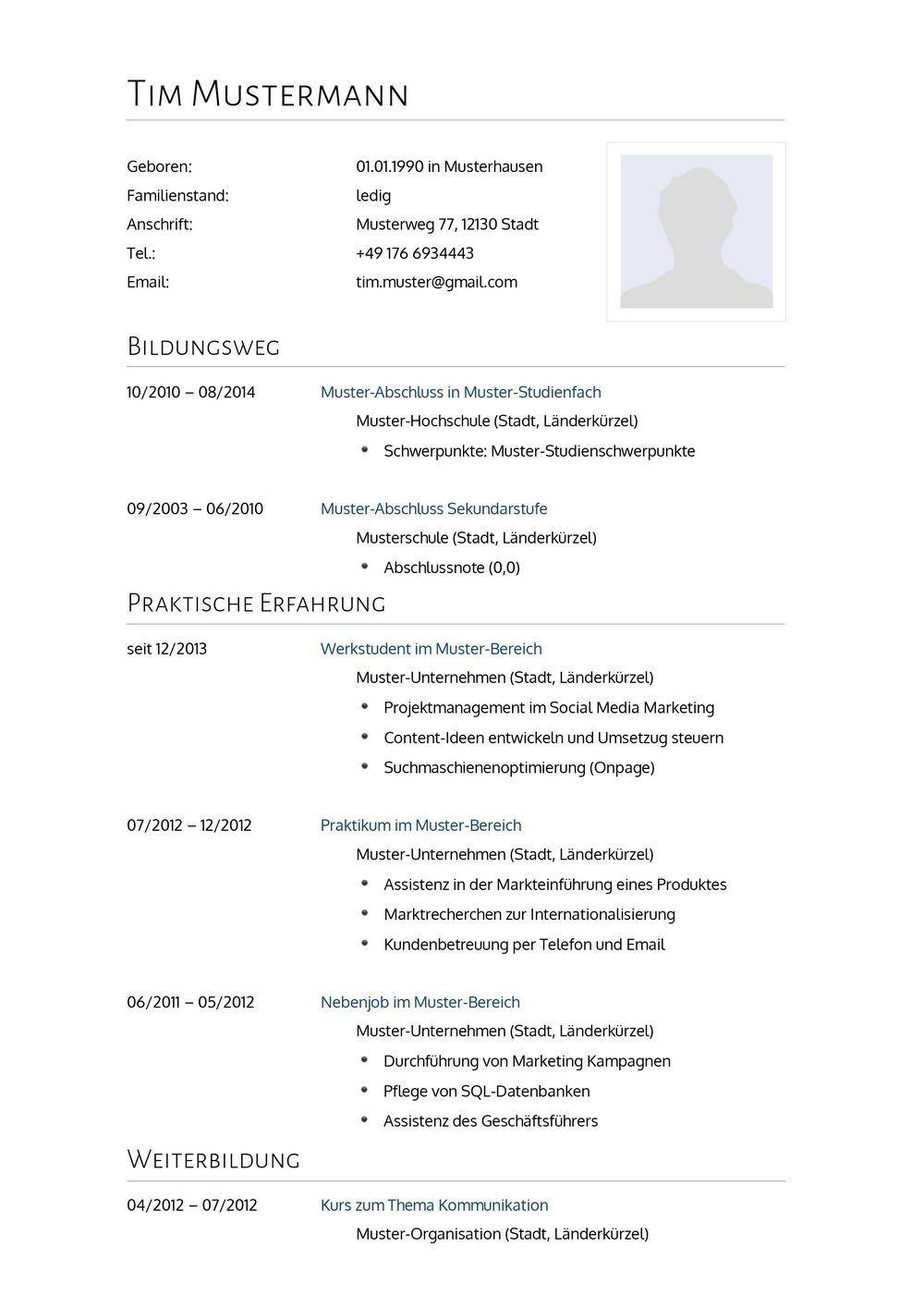 Lebenslauf Muster für Arzt | Lebenslauf Designs | DOK | Pinterest ...