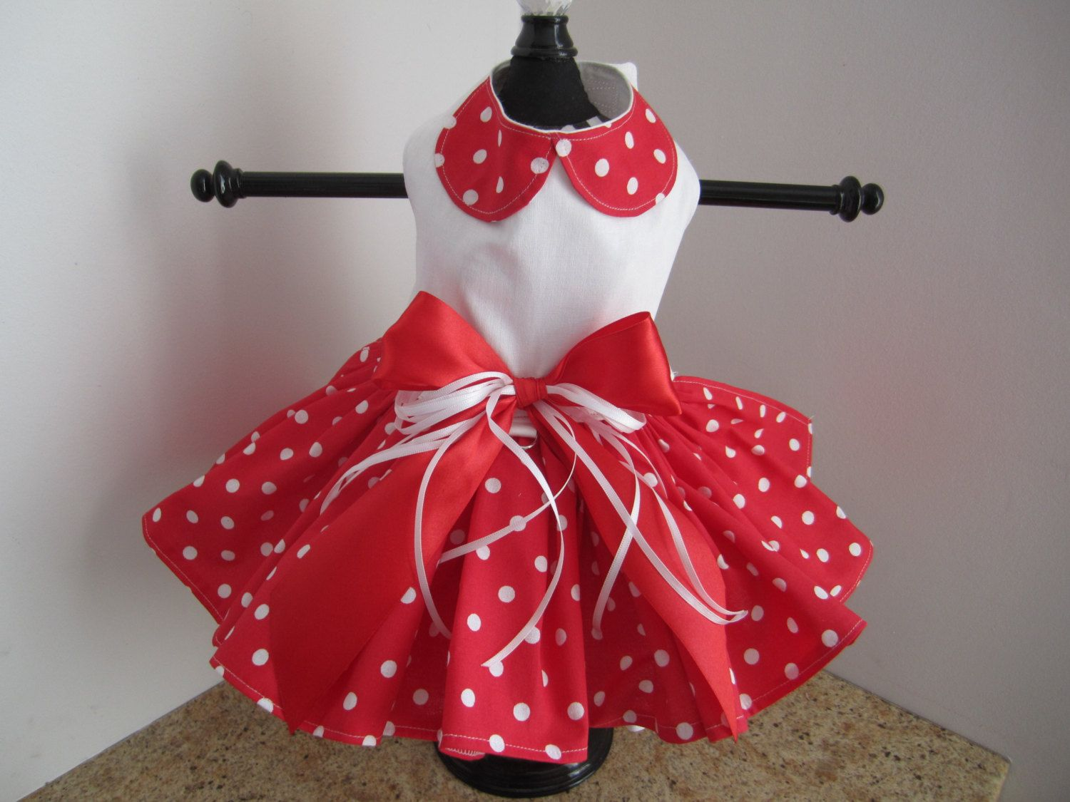 Dog Dress Red with White Polka Dots and by NinasCoutureCloset