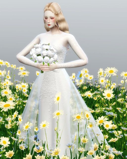 Sims 4 CCs  The Best Flower Pose for Meeyou by oje0126  sims 4  Strapless dress formal