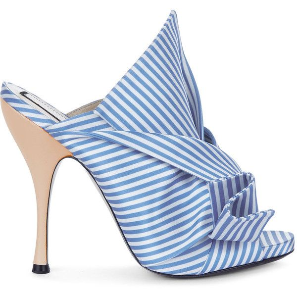 No21 Blue & White Stripe Satin Bow Mules (€530) ❤ liked on Polyvore featuring shoes, open toe shoes, strappy shoes, leather shoes, leather mules and high heel stilettos