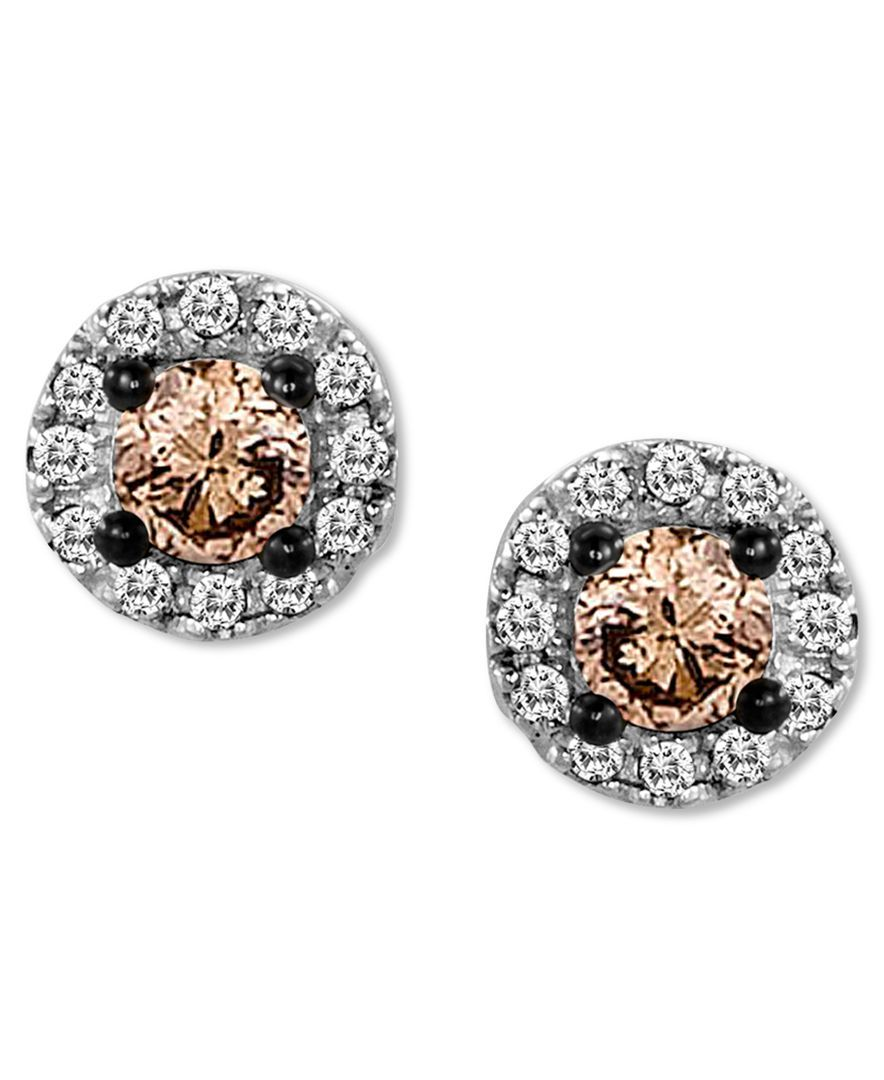 Le Vian Chocolate Diamond 1 4 Ct T W And White Accent Stud Earrings In 14k Gold Jewelry Watches Macy S
