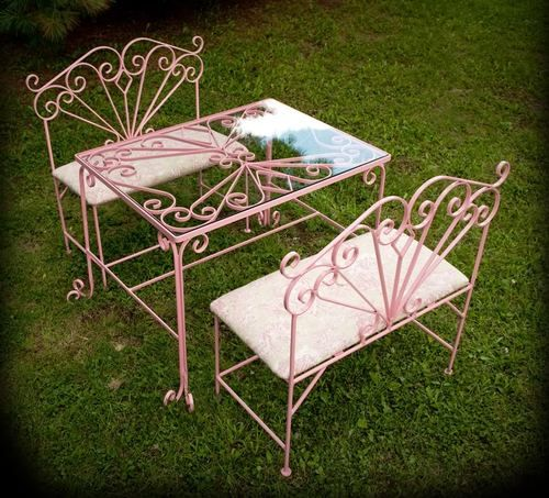 $425 Custom Kids Table And Chairs Set Pink Metal Childrens Tea Party  Furniture Child